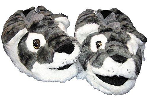 Tiger Tierhausschuhe Witzige Warme Pantoffel Grau