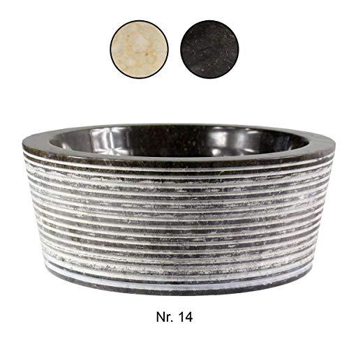 Waschbecken Handwaschbecken Aufsatzwaschbecken Natursteinwaschbecken Waschtisch 30cm Marmor Stein Natur Rund Schwarz Grau Nr. 14 - Runde Stein-marmor