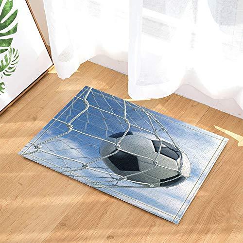 fdswdfg221 Sporter Fußballdekor 3D-Rendering eines Fußballs in Einem Netz Badteppiche für Badezimmer Rutschfeste Fußbodeneingänge Outdoor Indoor-Haustürmatte Kids Bath Mat Black White