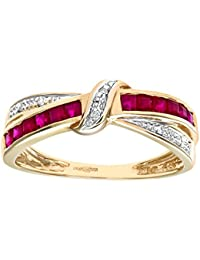 Revoni - 9ct Yellow Gold Ruby And Diamond Bow Ring