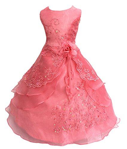 Festliches Mädchen Kleid Pinzessin Kostüm Lange Brautjungfern Kleider Hochzeit Party Festzug Blumenmädchenkleider Wassermelone Rot (Wassermelone Kostüme Mädchen)