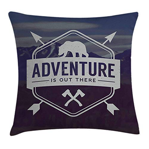 Adventure Throw Pillow Cushion Cover, Motivational Quote Hatchets and Bear Mountain Landscape, Decorative Square Accent Pillow Case, 18 X 18 Inches, Dark Purple Slate Blue Pale Grey