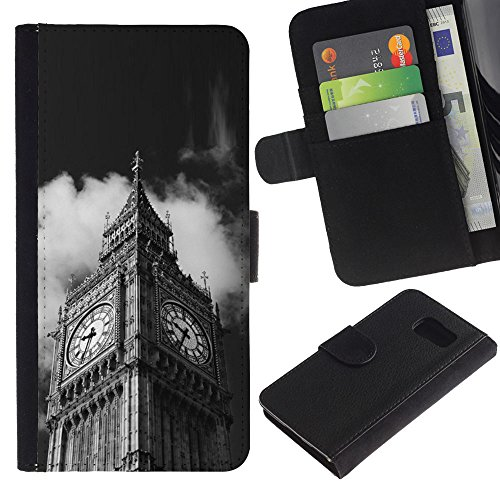 LeCase - Samsung Galaxy S6 SM-G920 - Architecture Big Ben Close Up London - U Cuoio Custodia Portafoglio Snello caso copertura Shell armatura Case Cover Wallet Credit Card