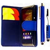R.BAWA. Pack Containing 5 Parts. Blue Leather Wallet Case FOR SONY XPERIA E + 2 Screen Protectors + 2 Stylus Pens