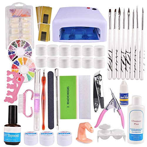 23 Set Nagelstudio-Sets Nagelstudio Starter Set Weiß-Nagelset mit Nailart UV Lampe und UV Gel -