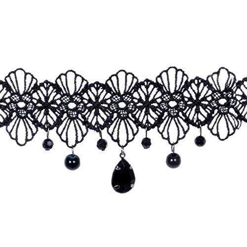 Keattl collana girocollo per ragazze, pizzo classico tatuaggio nero, migliore decorazione per abito estivo (nero)