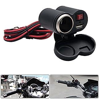 12V USB Motorrad Ladegerät mit Zigarettenanzünder Stecker für Handy GPS MP3 Schwarz