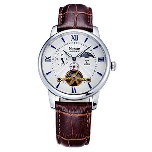 PIXNOR NESUN 9031 Mens orologio meccanico automatico impermeabile da polso cinturino pelle luminosa scavata con (Multifunzionale Del Mens Cinturino)