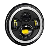 #2: Autofy 7 Inch 4 LED Headlight with Dual DRL Color for Royal Enfield (White and Black)