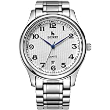 BUREI Casual Business Analog Mens Watch Simple Date Quartz Gents Watch with White Arabic Numbers Black Dial and Stainless Steel Band Water Resistant 3 ATM Gifts for Men (White)