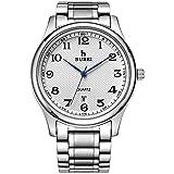 BUREI Klassische Herren Uhren Armbanduhr Japanisches Quarzwerk Kratzfeste Linse Edelstahlband (Silber)