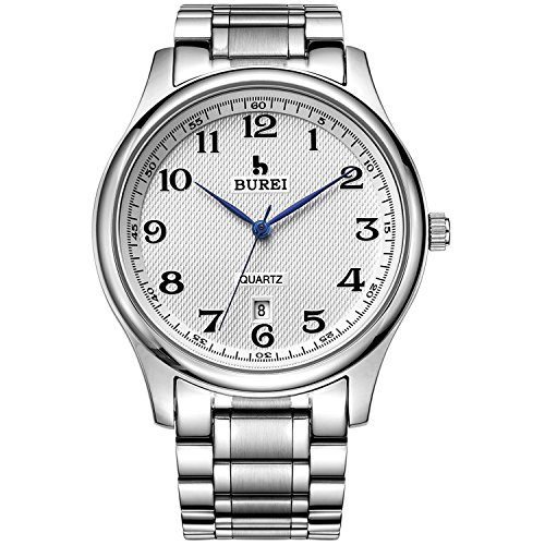 BUREI-Mens-Date-Calendar-Quartz-Watches-White-Analogue-Display-with-Silver-Stainless-Steel-Bracelet