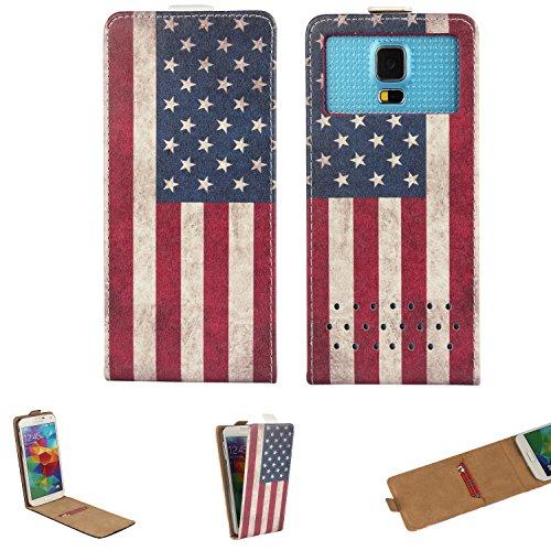 Handy Hülle für - Switel Cute S3510D - Flip Tasche mit Kreditkartenfach - Flip Nano XS Amerika USA