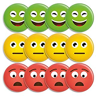12 Smiley Magnete, Ø 38mm, 3 Farben: grün, gelb, rot - hält 5 DIN A4 Zettel, Ideal für Tafeln, Whiteboards, Belohnungstafeln, zum Projektmanagment