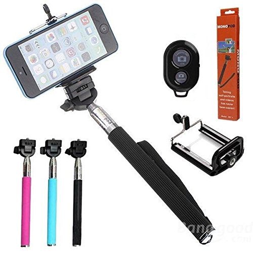 mark8shop Selfie Einbeinstativ Erweiterbar Handheld Halterung mit Bluetooth Fernbedienung Shutter für Handy Kameras (Remote Erweiterbar)