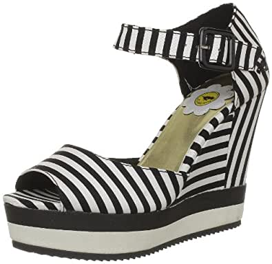 Rocket Dog Women's Spirit Black Lucky Stripe Ankle Strap Heels 7 UK