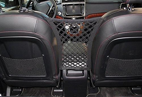 Preisvergleich Produktbild kinxor dehnbar Back Seat Pet Set Barriere mit Speicher, Net, Sitz Cargo Netz Haken Tasche Halterung dehnbar Sitz Pet Dog Barriere für Limousine, SUV, mini-van, Pick Up Truck (30x 25cm schwarz)