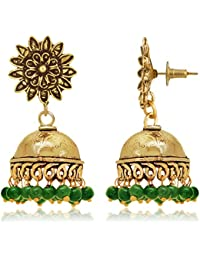 Spargz Party Wear Gold Plating Green Beads Jhumki Earrings For Women AIER 900