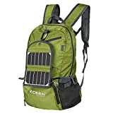 ECEEN Solar Powered Hiking Daypacks with 3.25 Watts Solar Charger for Hiking, Travel, Backpacking, Biking, Camping - Folds Up into Carry Pouch – Power for Smart Cell Phones and More (Green)