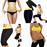 New Womens Workout Trousers Neoprene Thermo Active Shaper Hot Pants Capri Joging Yoga Gym Fitness Size M