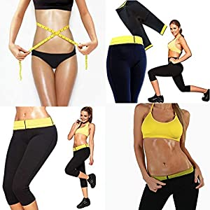 51AQ6MMy6kL. SS300  - New Womens Workout Trousers Neoprene Thermo Active Shaper Hot Pants Capri Joging Yoga Gym Fitness Size M