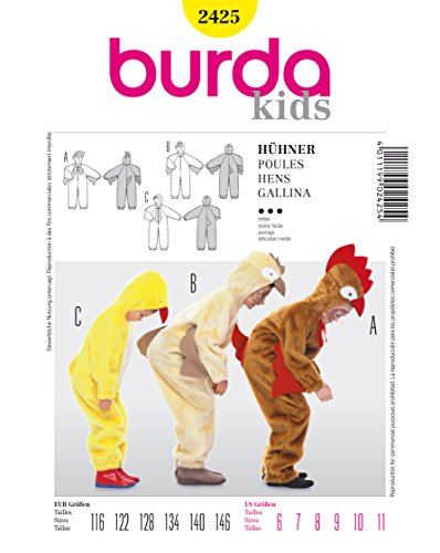 Burda 2425 Schnittmuster Kostüm Fasching Karneval Hühner (kids, Gr. 116 - 146) Level 3 mittel