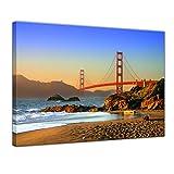 Kunstdruck - Golden Gate Bridge - Bild auf Leinwand 40 x 30 cm - Leinwandbilder - Bilder als Leinwanddruck - Städte & Kulturen - USA - Amerika - Brücke in Kalifornien