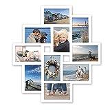 WOLTU BR9726 Bilderrahmen, 10 Fotos Collage, 10x15cm, Vorderseite aus Kunststoff, Zum Hängen im Querformat und Hochformat, weiß