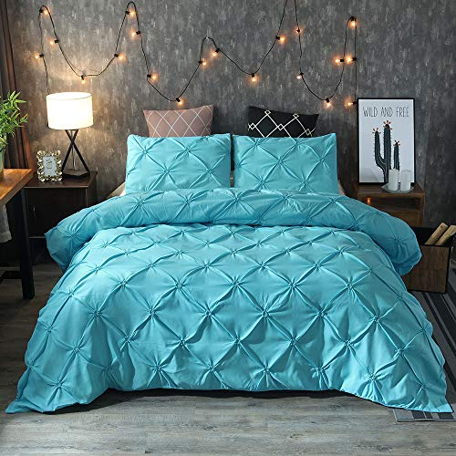 BYEON Einzigartige Pinch Pleat Pintuck Duvet Cover Set,3 Stücke Dekorative Stylish Microfiber Bedding Set-Luxurious & Hypoallergene Pintuck Decorative,Blue,King