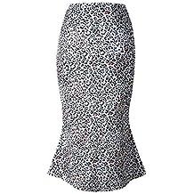 Falda de Cadera con Estampado de Leopardo Irregular Sexy Dwevkeful Moda Casual Noche Ajustado Falda de