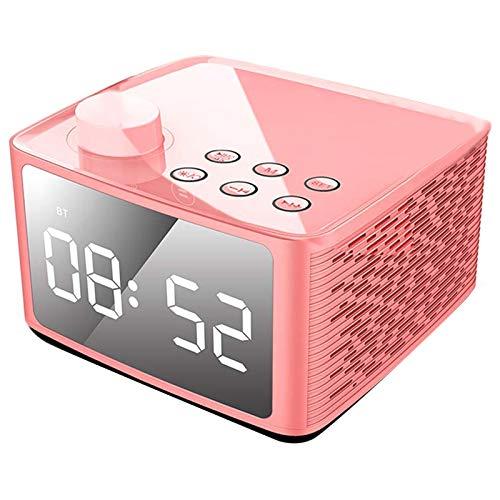 SODIAL Wecker Radio Drahtloser Bluetooth Lautsprecher Mit Fm Radio & Handy St?nder, Blaue 4 Zoll Ziffern Anzeige Mit 3-Pegel Dimmer, Dual Stereo Treiber, 6-8 Stunden Spielzeit Rosa - Ihome-radiowecker