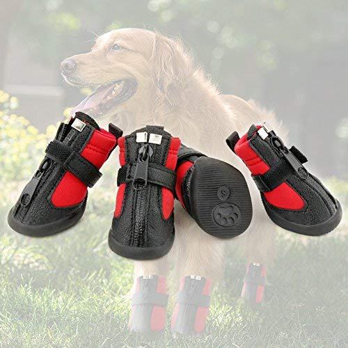 Grand Line Botas de Perro Impermeable Tamaño S Pata Protector con Resistente al Desgaste Suela Antideslizante Conjunto de 4
