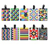 Luggage Tags for suitcases Large Suitcase PVC Tags Sports Bag Colorful id Tags Tetris Pattern Durable Rubber Secure and Gear Bags(10 Pack)