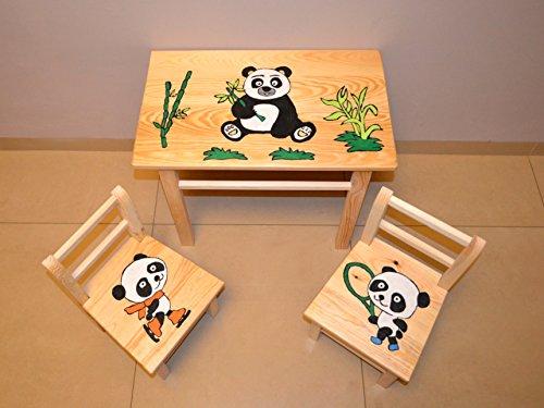 Sitzgruppe für Kinderzimmer Tisch+2 Stühle Kinder Kieferholz Kunsthandwerk! Öko! (Panda)