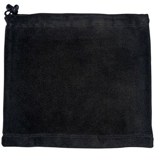 Schauchschal aus Fleece mit Kordel. Einfarbiger Fleeceschal für Damen und Herren. Erhältlich in der Farben Schwarz, Dunkelblau, Grün, Weiß und Orange., Farbe:Schwarz, Größe:Einheitsgröße