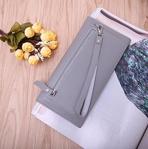 Dairyshop Cassa della borsa del supporto della carta del raccoglitore molle della borsa lunga della frizione delle signore donne (Azzurro) grigio chiaro