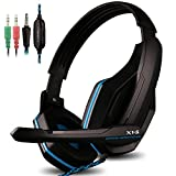 Gaming Headset para PS4 PC iPhone Móvil portátil Tablet iPad iPod Mobilephones MP3 MP4, X1-S 4 3.5mm Pin Jack Multi Función del Juego de Auriculares con micrófono por AFUNTA