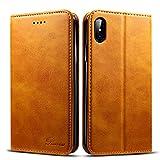 Rssviss Coque iPhone XS/X, Etui en Cuir Flip Case pour iPhone XS/X [4 emplacements...