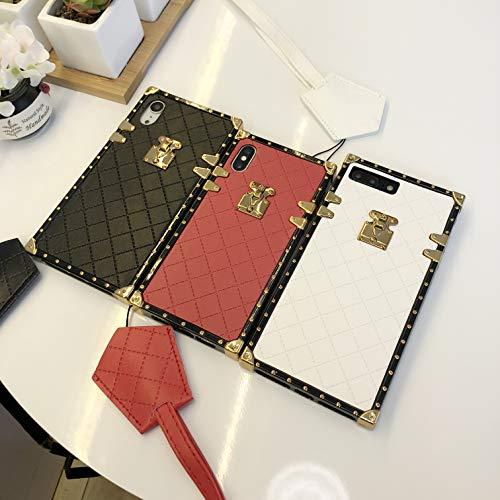 Fashion TPU Leder Square Trunk Case für iPhone 6/6 Plus/iPhone 7/7 Plus/iPhone 8/8 Plus/iPhone X/XS/XR/XS Max Flexible Cover Stoßfeste Schutzhülle, iPhone 7/8, schwarz