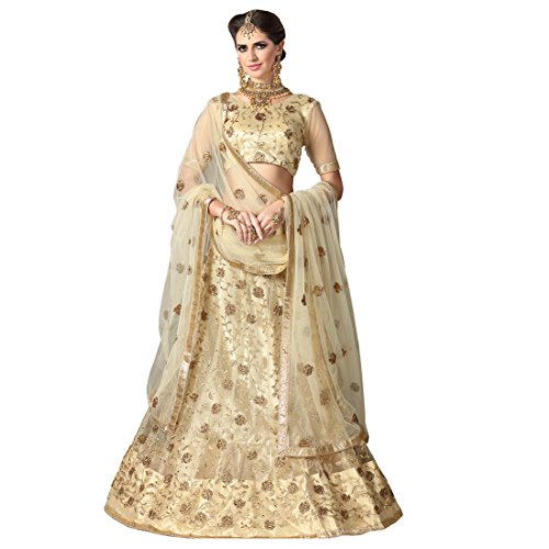 Women'S Beige Color Embroidered Lehenga -ASKQA670