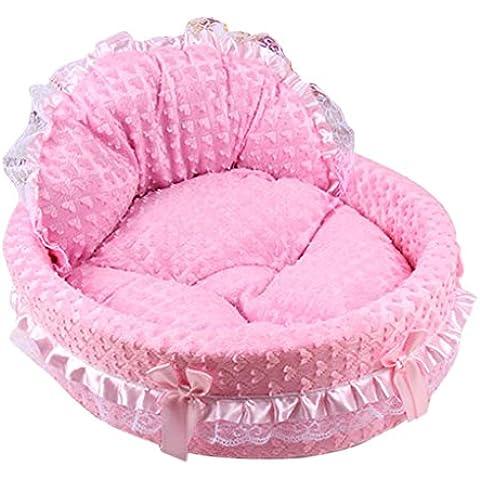 QHGstore Estera del animal doméstico del perro del gato del perrito suave el dormir del cojín amortiguador cama felpa Cozy Nest Corazón rojo rosa L