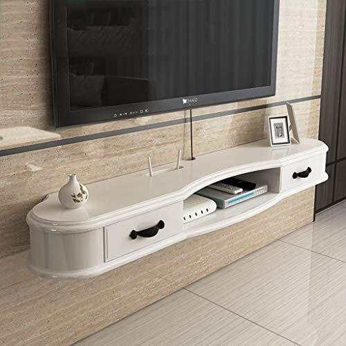 JIANPING DVD-Sat-TV-Box mit Schubladen. Kabelbox schwebendes Regal schwebende Regale (Color : White, Size : 120cm) -