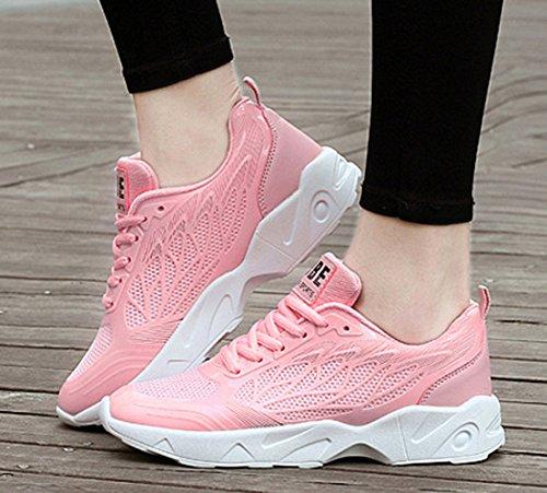 Sommer Atmungsaktive Damen Schöne Dicke Sohle Schüttelne Plateau Verzweigungsmuster Schnürsenkel Dicke Sohle Sport Turnschuhe Sneakers Pink
