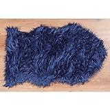 Teppich Furry L90 B60cm Polyacryl Obermaterial:100%Polyacryl Handwäsche (blau)