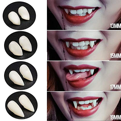 Sinwind 4 Paar Halloween Vampir Zähne Cosplay Prop Dekoration für Cosplay Party Requisiten Halloween Party Zähne(+ Zähne Klebstoff)