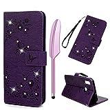 Schmetterling Muster Handytasche Kompatible für Huawei P Smart 2019 Hülle Leder Tasche Glitzer Honor 10 Lite Handyhülle Case Flip Cover Schutzhülle Skin Ständer Klappbar Schale Bumper Deckel-Violett