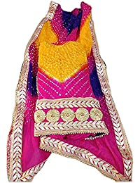 Jaipuri Rajasthani Suit Art Silk Bandhej Gota Patti Work Multi Color - B077T31CLF