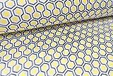 Qualitativ hochwertiger Jersey Stoff mit Wabenmuster im Retro Look Gelb/Weiß/Grau als Meterware mit Öko-Tex Zertifizierung zum kreativen Nähen von Erwachsenen, Kinder und Baby Kleidung, 50 cm