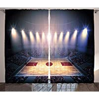 ERCGY Basketball Curtains, Crowded Basketball Arena Just Before Game Starts School Tournament Theme, Living Room Bedroom Window Drapes 2 Panel Set, 57 inch X 47 inch, Beige Brown