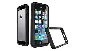 RhinoShield Bumper Case FOR IPHONE 5/5s/SE [CrashGuard] | Shock Absorbent Slim Design Protective Cover [3.5 M / 11ft Drop Protection] - Black